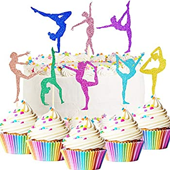48 Pieces Glitter Gymnastics Cupcake Toppers Gymnast Girl Cake Picks Colorful Gymnastics Silhouette Cupcake Toppers for Gym Theme Baby Shower Birthday Party Cake Decorations