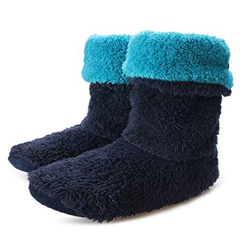wefwef schwarz blau Indoor Floor Schuhe Home Rutschschuhe Damen Warm Winter Furry Slides Coral Fleece Room Slipper Indoor Socke Schuhe