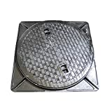 鋳鉄製 マンホール フタ 乗用車荷重(約2t車)マンホール 浄化槽 (蓋枠セット) 穴径450mm (フタ径495mm) MK-1-450
