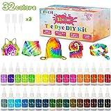 lenbest 32 Color Tie Dye Kit, Tie-Dye Kit Tinte para Ropa, con 150 Bandas de Goma 12 Guantes Plástico, Pinturas Textiles de Tela, Kit de Tinte Colorido, Adecuado para Camisetas, vestidos, Sábanas etc.