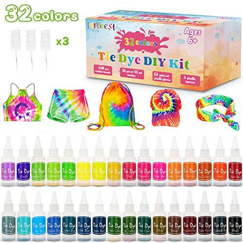 lenbest DIY Tie-Dye Kit, 32 Färbe-Set für Kinder, Erwachsene und Gruppen, Ungiftige Hemd Stoff Farbe, Textilfarbe waschmaschinenfest, Partys, Versammlungen, Festivals hinzufügen
