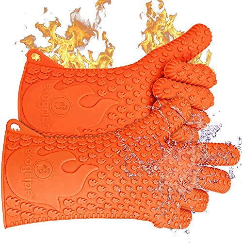 Jolly Green Products Ekogrips Premium HeatResistant BBQ Gloves for Cooking and Meat Handling Kitchen Oven Gloves Fireplace Accessory Campfire Gloves BBQ Mitt Dishwashing Gloves Orange OneSize Fits Most