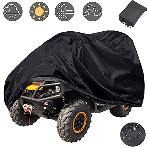 Indeed BUY Waterproof ATV Cover, 420D Heavy Duty Ripstop Material Black Protects 4 Wheeler from Snow Rain or Sun,102'' x44'' x 48''