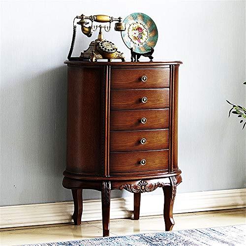 Cassettiera Cassettiera con Stile Antico Maniglie Dresser Alto Classica con 5 cassetti unità Mobili da Camera da Letto (Color : Walnut, Size : 58x40x81CM)