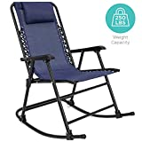 Best Choice Products Foldable Zero Gravity Rocking Patio Recliner Chair Blue
