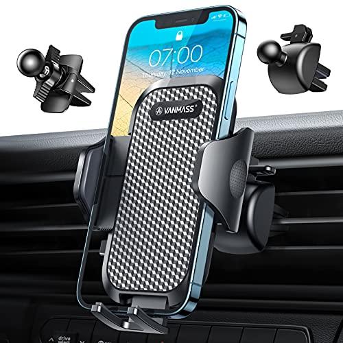 VANMASS Handyhalterung Auto Lüftung 2 in 1 Handyhalter Fürs Auto mit 2 Lüftungsclip Universale Kfz Handyhalterung 360° Drehbar 100prozent Silikonschutz Für Alle Smartphone wie iPhone 13 Samsung Huawei usw