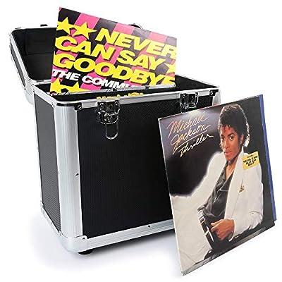 EM RC 80 x 12 Inch LP Vinyl Record Case Storage Box DJ Album Collection Locking Carry Flightcase Black