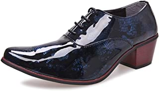 """QinMei Zhou Classic Oxford for Men Outdoor Dress Shoes 5cm/1.97"""" Block Heel Lace up Pointed Toe Patent Leather Pattern Anti-Slip (Color : Blue, Size : 6.5 UK)"""