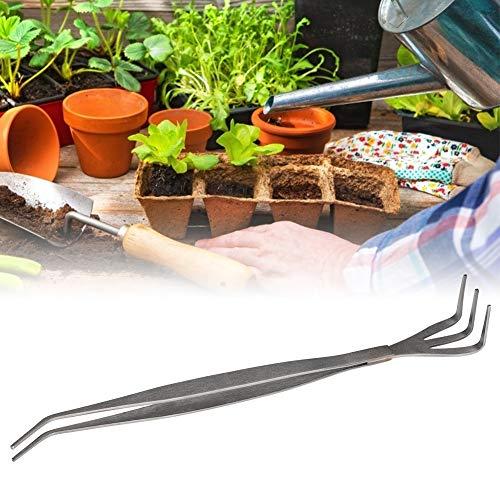 2 in 1 Edelstahl Bonsai & Gartengerät Wurzel Rechen + Pinzette für Gartenpflanzen Blumen