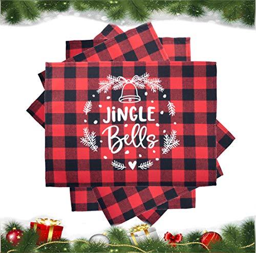 SANMADROLA Christmas Placemats 4Pcs Buffalo Plaid Placemats 13 x 18 Inch Buffalo Check Placemats for Holiday Christmas Table Decorations (Christmas04)