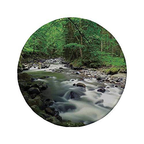 Rutschfreies Gummi-rundes Mauspad Lake House-Dekor rauschendes Flussbett im Wald mit Felsen Bäumen Bergzweigen Sträuchern Natur Grün Grau Weiß 7.9