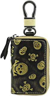 Car Key Bag Leather Fashion Crepe Leather Car Key Bag Zipper Key Holster (Color : Gold, Size : S)