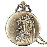 AASSXX Orologio da tascaRetro bronzo 3D Horse Face Orologio da tasca in rattan floreale FOB Full Hunter Collana con ciondolo Souvenir Regali di compleanno