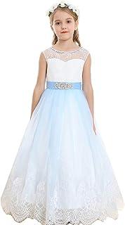 Bow Dream ピアノ発表会ドレス ガールズドレス 女の子のドレス フォーマルドレス 写真撮影 レース チュール 花嫁の介添え ラインストーン ロングドレス