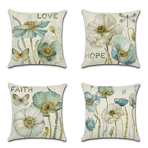 Artscope Set of 4 Decorative Cushion Covers 45X45cm, Yellow Flowers Waterproof Throw Pillow Covers, Perfect to Outdoor Patio Garden Blench Living Room Sofa Farmhouse Decor