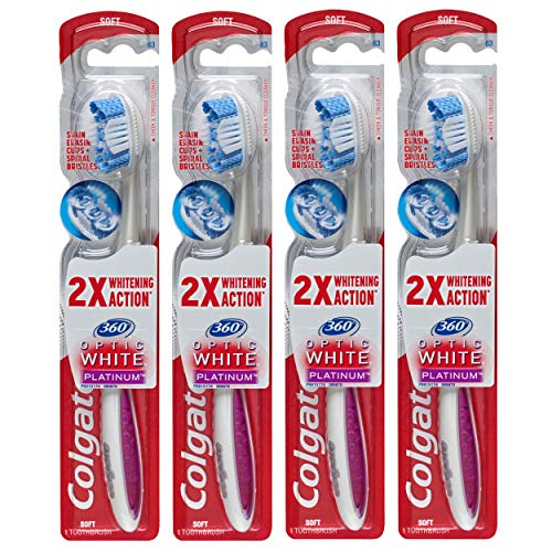 Colgate 360 Optic White Platinum Whitening Toothbrush with Tongue and Cheek Cleaner Soft  4 Count