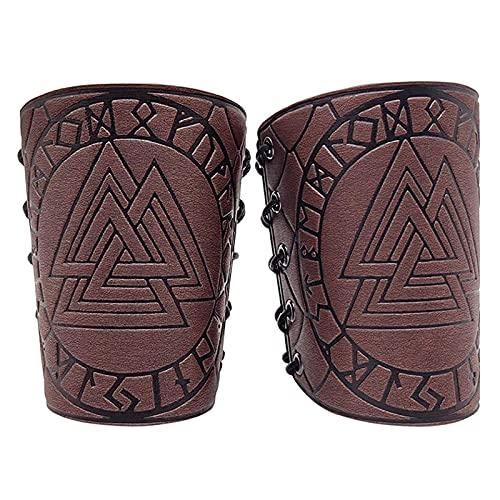 XDXDO Guardias de Brazo Cosplay Protectores de Brazo de Cuero con Vikingo Odin Runas, Medieval Unisex Faux Back Brazal Brazal Brazal