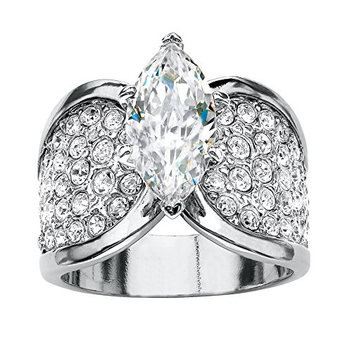 Palm Beach Jewelry Marquise-Cut and Pave White Cubic Zirconia...