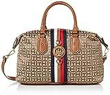 Tommy Hilfiger Women's Jaden Jacquard Satchel Handbag, TAN/DK Chocolate