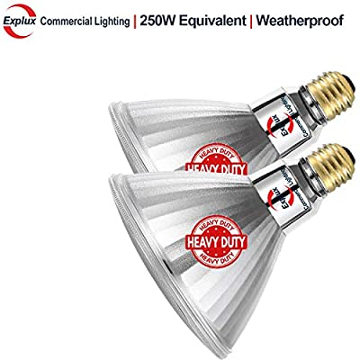 Explux 250W Equivalent Ultra Bright Dimmable Classic Full Glass PAR38 LED Flood Light Bulbs
