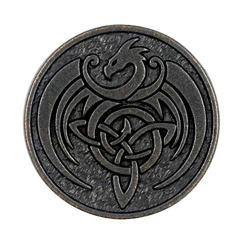 Bezelry 8 Pieces Celtic Dragon Metal Shank Buttons. 25mm (1 inch) (Vintage Black)