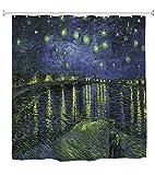 A.Monamour Duschvorhang Sternenklare Nacht Über Der Rhone Von Vincent Van Gogh Ölgemälde Druck Wasserdicht Polyester Duschvorhang Für Bad Badewanne Zubehör 180X180 cm / 72X72