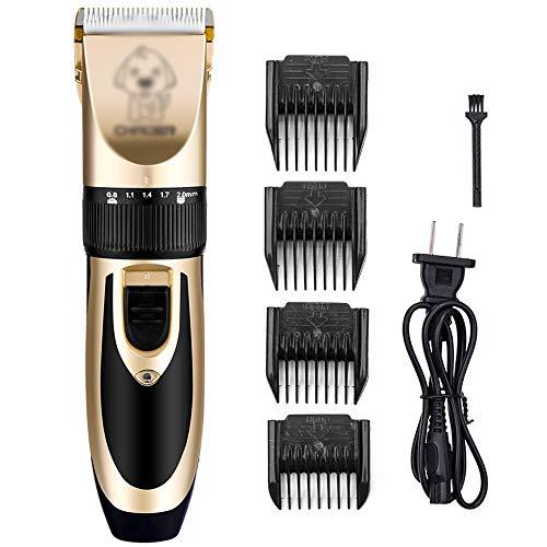WNN-URG Inalámbrico recargable preparación del perro Kit USB, Animales domésticos eléctricos de cortar el pelo máquina de afeitar Tijeras for perros y gatos, tranquilo, lavable, conveniente for la tie