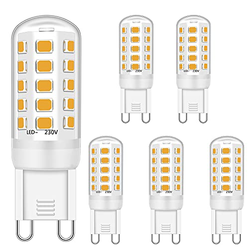 G9 LED Dimmbar Lampen 4W Ersatz für 28W 30W 40W Halogenlampen, G9 Led Glühbirnen Warmweiß 2700K, G9 Licht Leuchtmittel, G9 Fassung LED Lampen, kein Flimmern, 420LM, AC 220-240V, 5er Pack