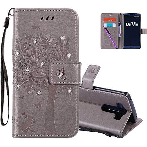 COTDINFOR LG V10 Hülle für Mädchen Elegant Retro Premium PU Lederhülle Handy Tasche mit Magnet Standfunktion Schutz Etui für LG V10 Gray Wishing Tree with Diamond KT.