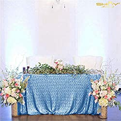 Baby Blue Rectangular Sequin Tablecloth
