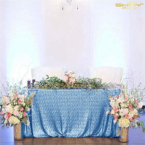 Baby Blue Sequin Tablecloth 48x72 Inches Rectangle Sequin Table Cloth Wedding Table Cover Christmas Tablecloth Glitter Table Linen for Birthday Party Decoration