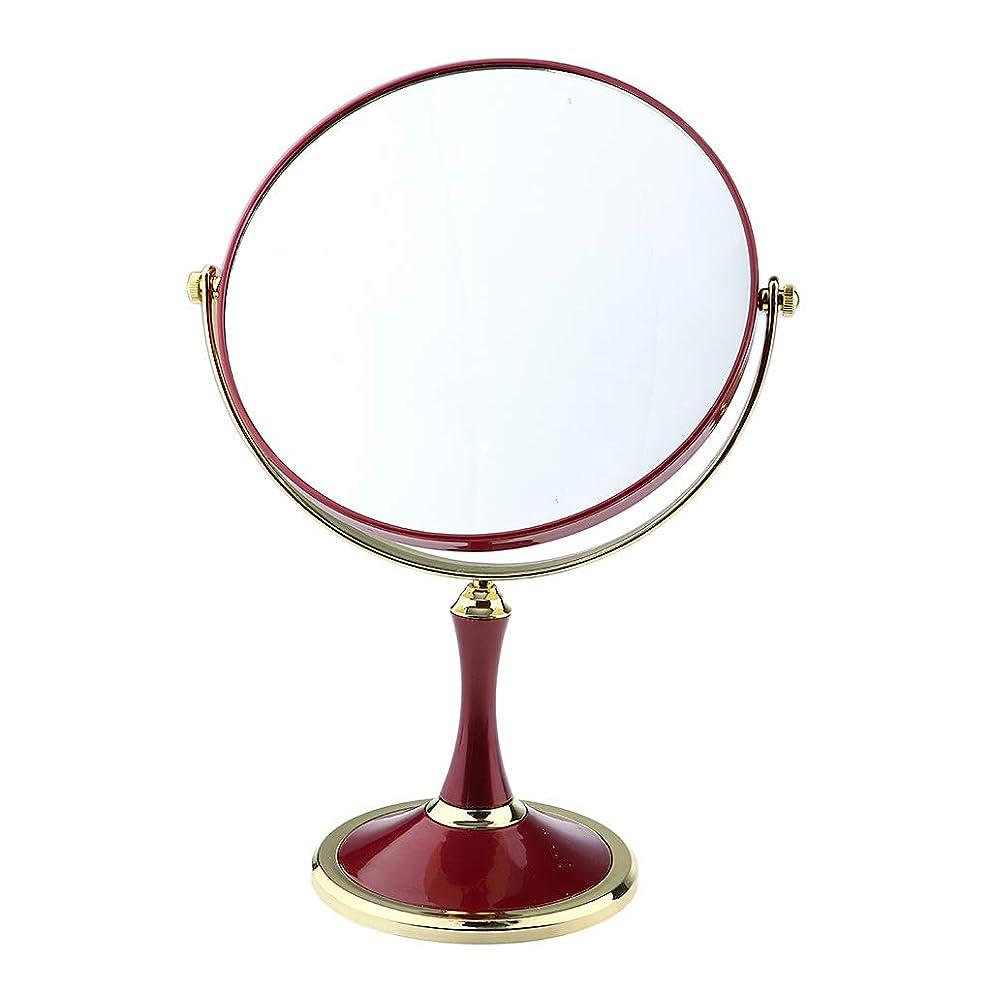 しわ批判状況化粧鏡 美容メイクアップ化粧ミラー&デュアルサイド1X / 3X拡大鏡スタンド - 赤