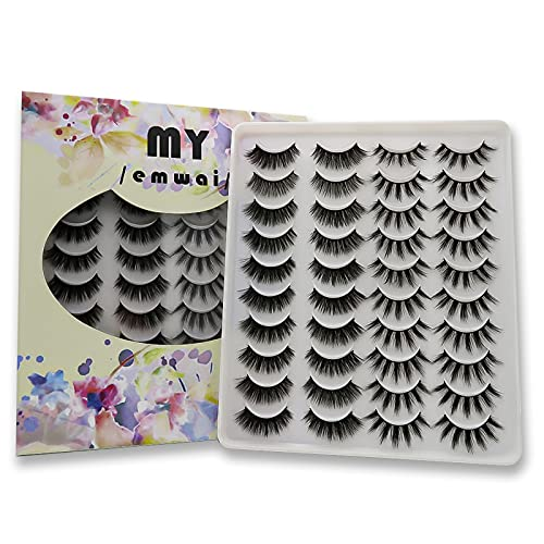 Eyelashes Faux Mink Lashes 20 Pairs 5D Natural Look False Eyelashes 2 Different Styles Wispy Volume Fluffy Reusable Soft Makeup Fake Eyelashes Pack by MY /emwai/ (0.59 in+0.63 in)