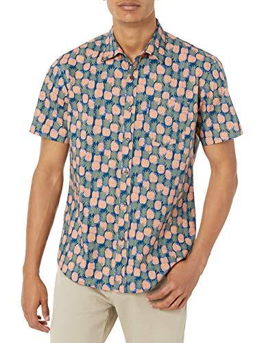 Amazon Essentials Kurzarm-Shirt mit regulärer Passform Hemd, Ananas, L
