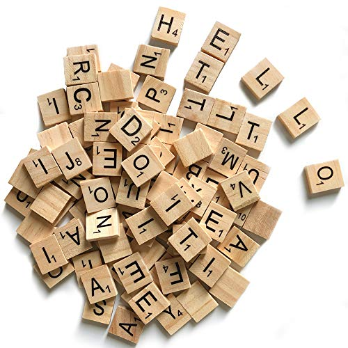 500 Wood Letter Tiles,Scrabble Letters for Crafts - DIY Wood Gift Decoration - Making Alphabet Coasters and Scrabble Crossword Game