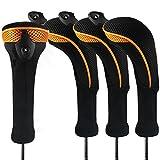 Andux CTMT-01 - Lote de 4 Fundas Protectoras de Cuello Largo para Cabezas de Palos de Golf, con Etiquetas de números Intercambiables, Naranja