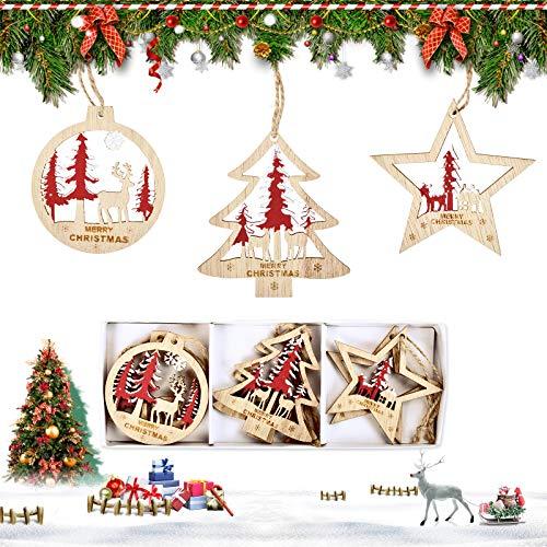 EKKONG 6 Stück Anhänger Holz Weihnachten, Weihnachtsanhänger Deko, Holz Weihnachtsdeko Anhänger, DIY Basteln Holzanhänger für Weihnachtsschmuck Weihnachtsanhänger Baum (Rot)