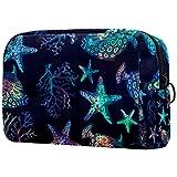ATOMO Bolsa de maquillaje, bolsa de viaje cosmética grande bolsa de aseo organizador de maquillaje para mujeres, peces exóticos, corales y estrellas de mar Depositphotos