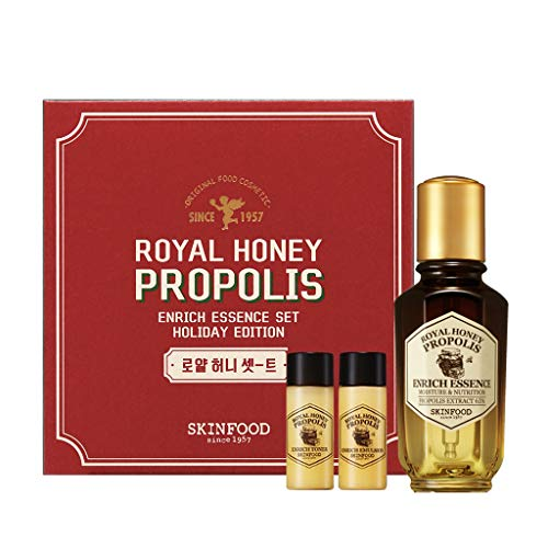 SKIN FOOD [Holiday Edition] Royal Honey Propolis Enrich Essence 1.69 fl.oz. (50ml) + Toner 18ml + Emulsion 18ml - Black Bee Propolis & Royal Jelly Extract Contained Powerful Nourishing Facial Essence