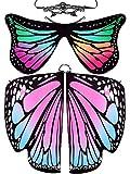 Whaline - 2 alas de mariposa, suave, disfraz de Halloween, capa de hada, ninfa Pixie con 1 funda de encaje para mujeres y niñas, festivales, Navidad, baile