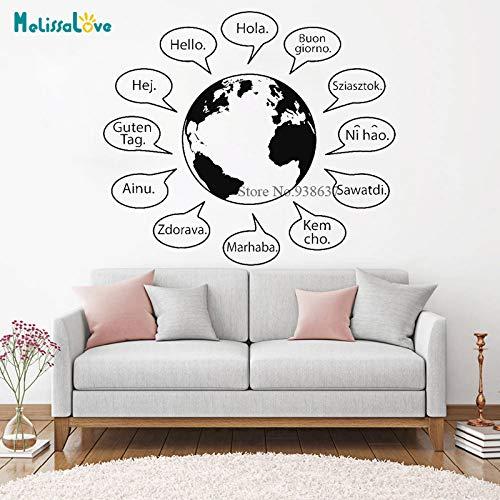 Hallo Text Wort Verschiedene Landessprache Welt Erde Design Shop Aufkleber Fenster Dekor Abnehmbare Vinyl Wandaufkleber B 126x110 cm
