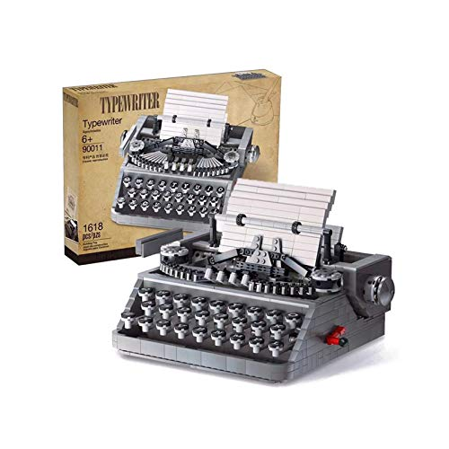 Mini Classic Typewriter Building Blocks 3D Model Kit (1618pcs) Mechanical Architecture Stem Toys Festival Gifts for Kid and Adult