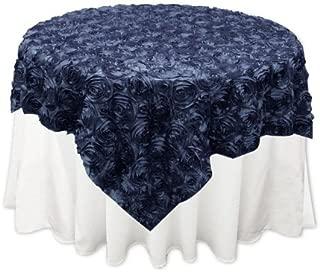Grandiose Rose Design Rosette Table Overlay Table Cover - Navy Blue (84x84)