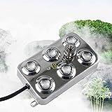 DAMAI Ultraschall-Nebelmaschine Fogger, 6 Kopf Luftbefeuchter Mit Transformator Edelstahl 304 Fogger Für Garten Und Teich
