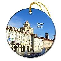 イタリアサンカルロスクエアトリノクリスマスオーナメントセラミックシート旅行お土産ギフト