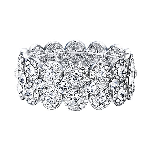 EVER FAITH Damen Armband österreichischer Kristall 2 Schichten verstellbares Stretch-Armband Armreif Klar für Abschlussball, Brautmode Silber-Ton