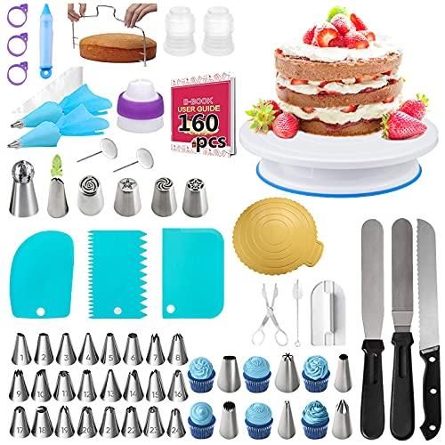 Nifogo Decorazione Torta Set Kit Pasticceria 160 Pezzi Cake Design Utensili con 36 Beccucci, 102 Sac à Poche, Piatto Rotante per Torta per Torte Decorazione (J-160pcs)