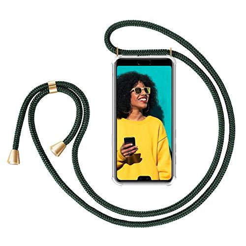 ZhinkArts Handykette kompatibel mit Huawei P20 Pro - Smartphone Necklace Hülle mit Band - Handyhülle Case mit Kette zum umhängen in Grün