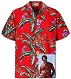 Paradise Found - Camicia hawaiana stile Tom Selleck/Magnum PI, Originale, Made in Hawaii, taglia: XS-4XL rosso Large