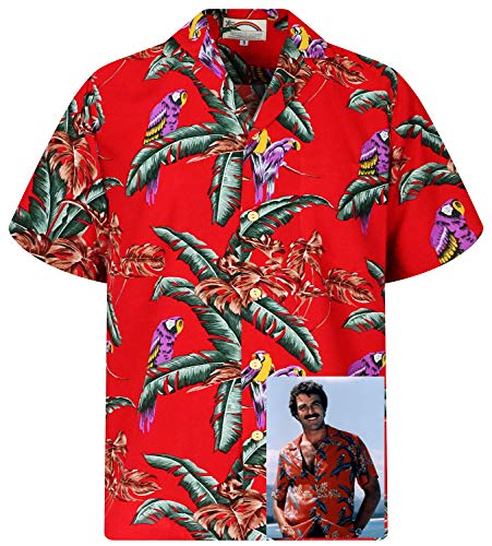 Tom Selleck Original Hawaiihemd, Kurzarm, Jungle Bird, Rot, M
